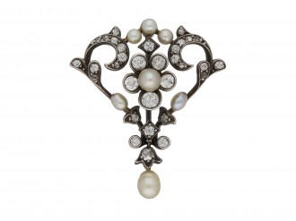 Gass & Co. pearl diamond pendant/brooch berganza hatton garden
