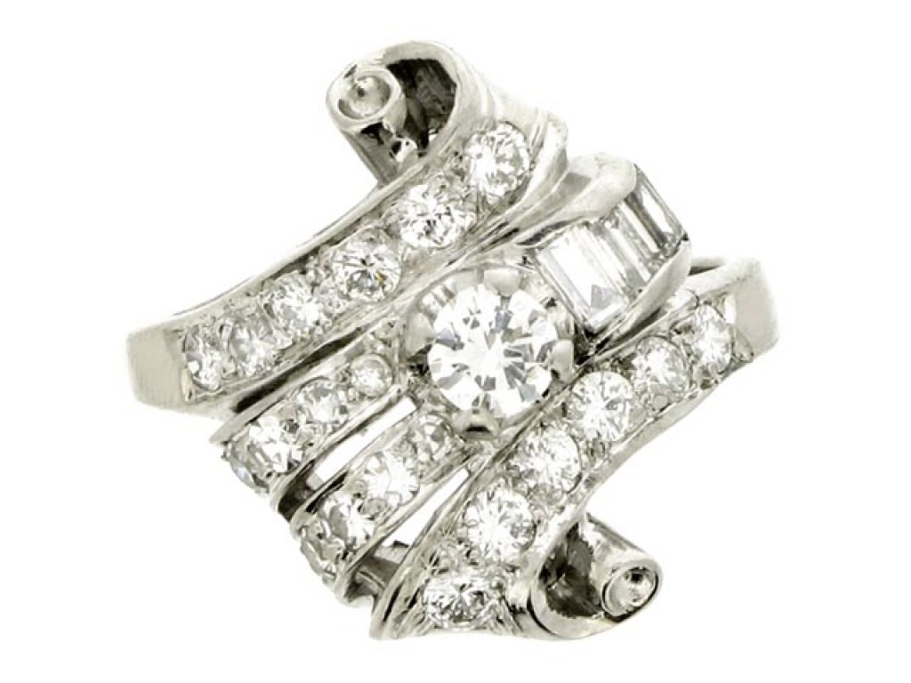 front view Fancy diamond cluster ring, American, circa 1950.