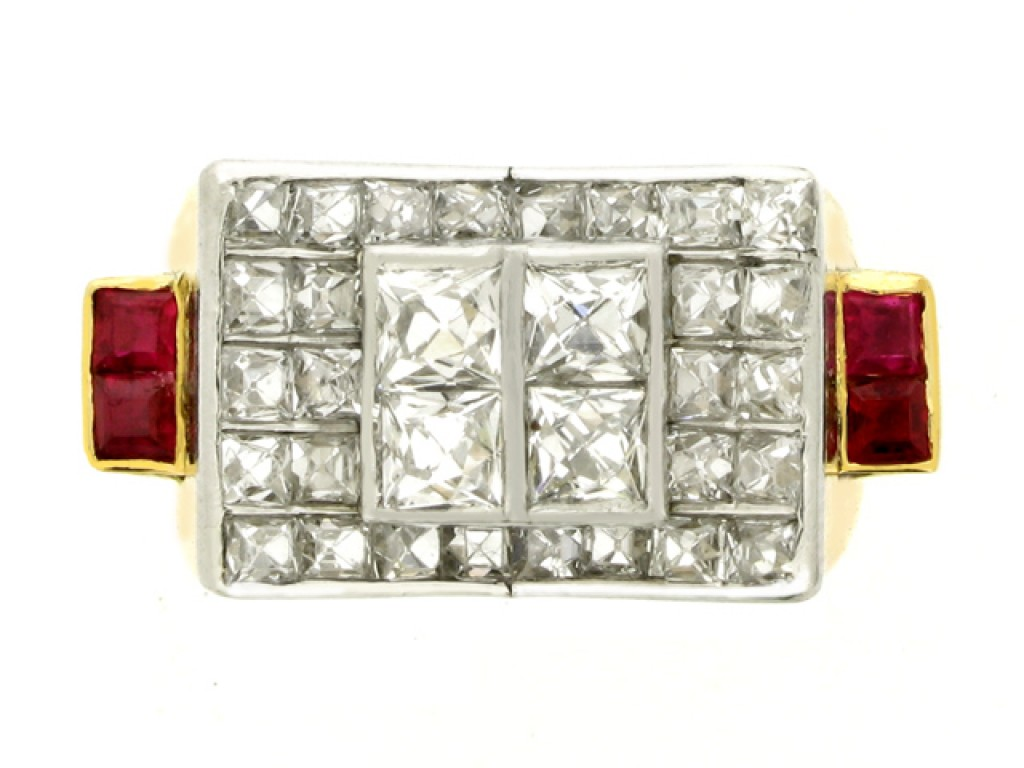 front view French cut diamond and ruby cocktail ring, circa 1940.