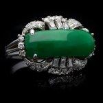 Jade and diamond ring, circa 1950.