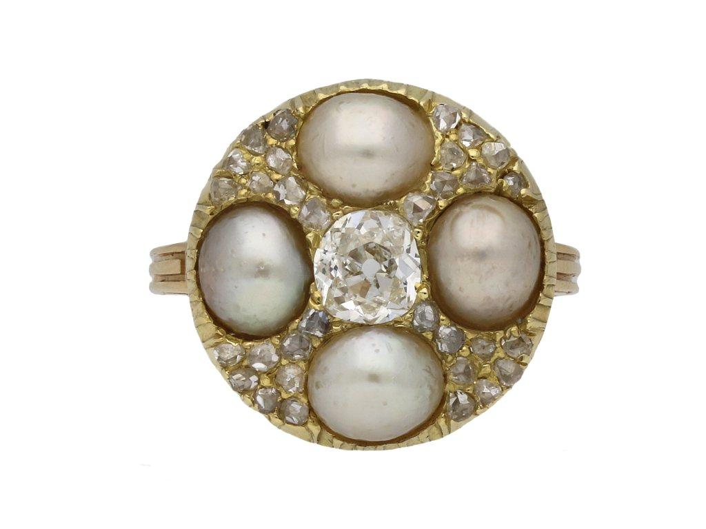Victorian pearl and diamond cluster ring berganza hatton garden