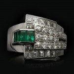 Emerald and diamond cocktail ring, circa 1935.