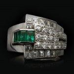 Emerald and diamond cocktail ring, circa 1935.