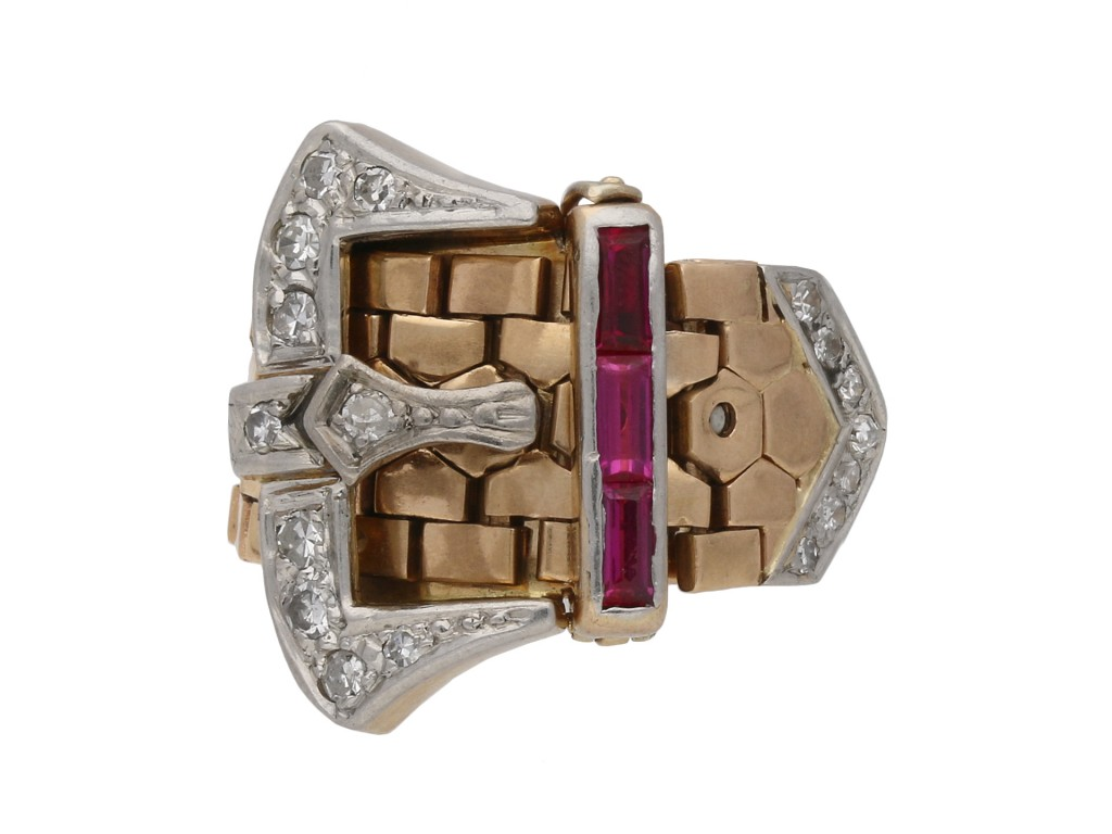 Synthetic ruby and diamond buckle ring berganza hatton garden