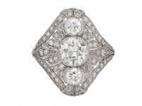 Art Deco three stone diamond cluster ring berganza hatton garden