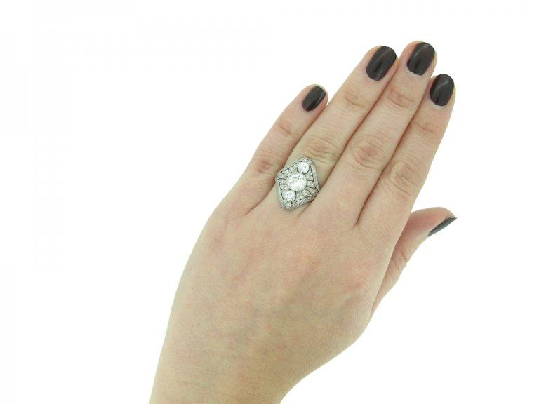 Art Deco three stone diamond cluster ring berganza hatton garden