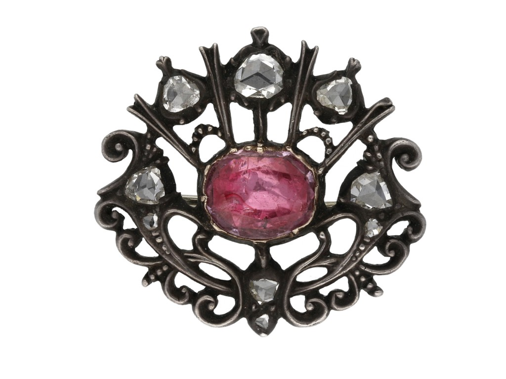 Stuart pink topaz and diamond brooch berganza hatton garden