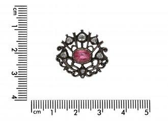 Stuart pink topaz and diamond brooch berganza hatton garden