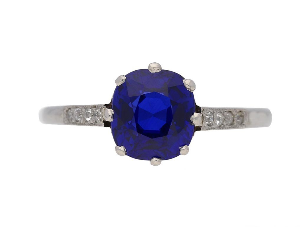 front view   Kashmir Royal blue sapphire and diamond ring, circa 1910. berganza hatton garden