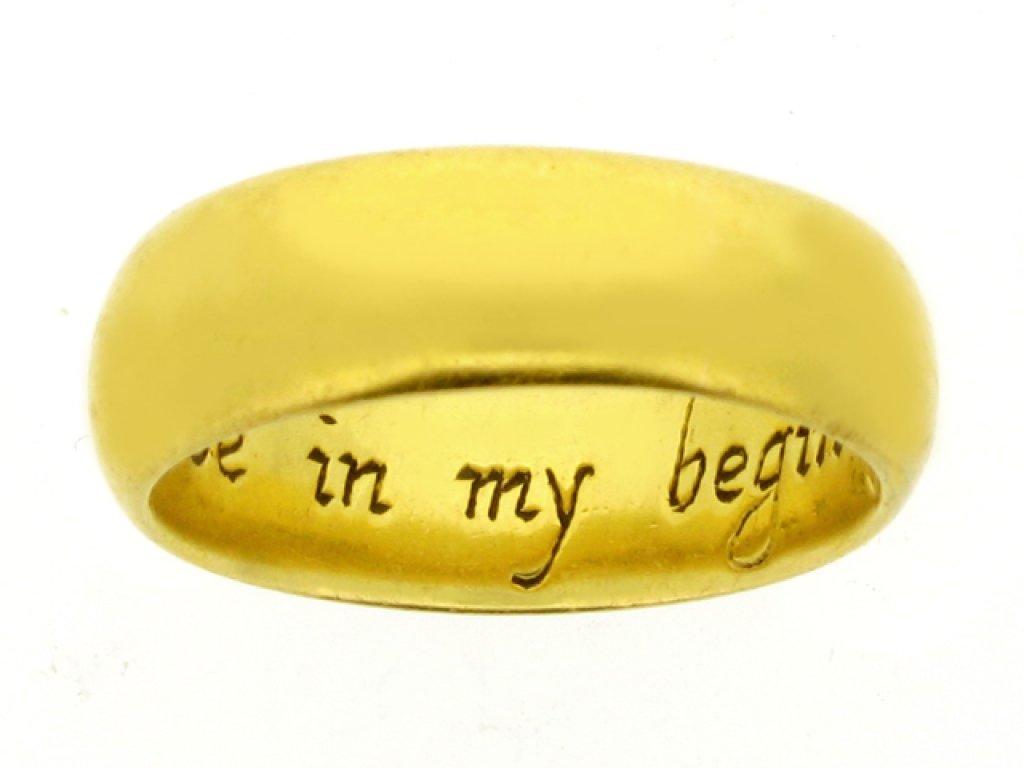 Enamelled posy ring, 'Jesu be in my begininge', 17th century.