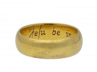 Enamelled posy ring Jesu be in my begininge Hatton garden