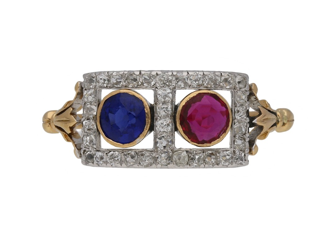 Edwardian sapphire, ruby and diamond ring berganza hatton garden