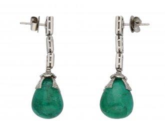 Drop emerald Cabochon and diamond earrings berganza hatton garden