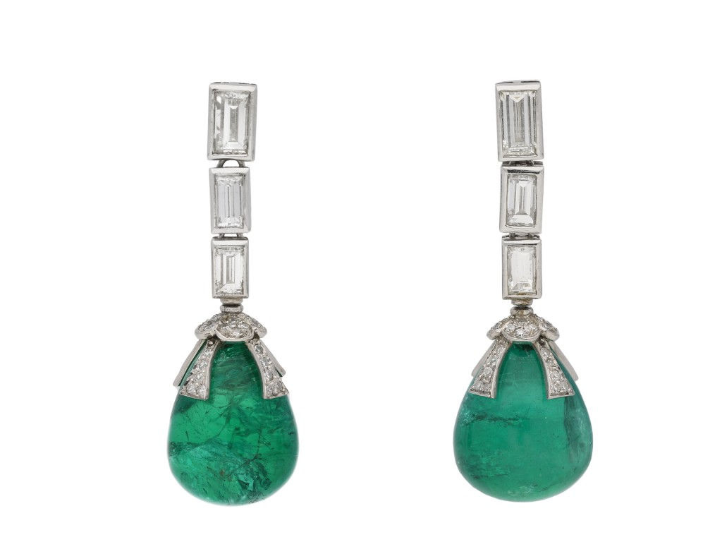 Drop emerald Cabochon and diamond earrings berganza hatton garden