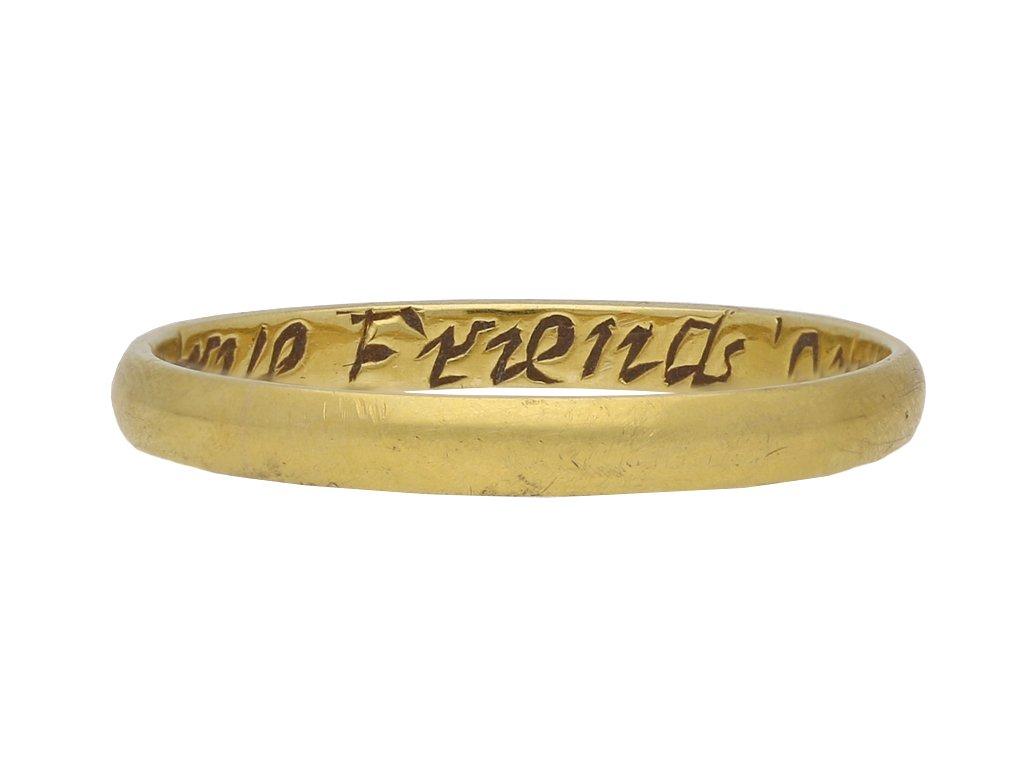 Gold posy ring, English berganza hatton garden