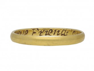 Gold posy ring, English berganza hatton garden