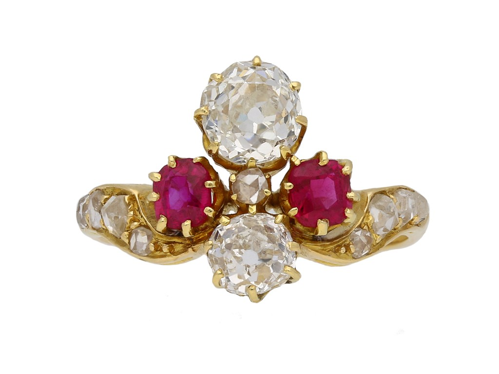 Art Nouveau ruby and diamond ring berganza hatton garden