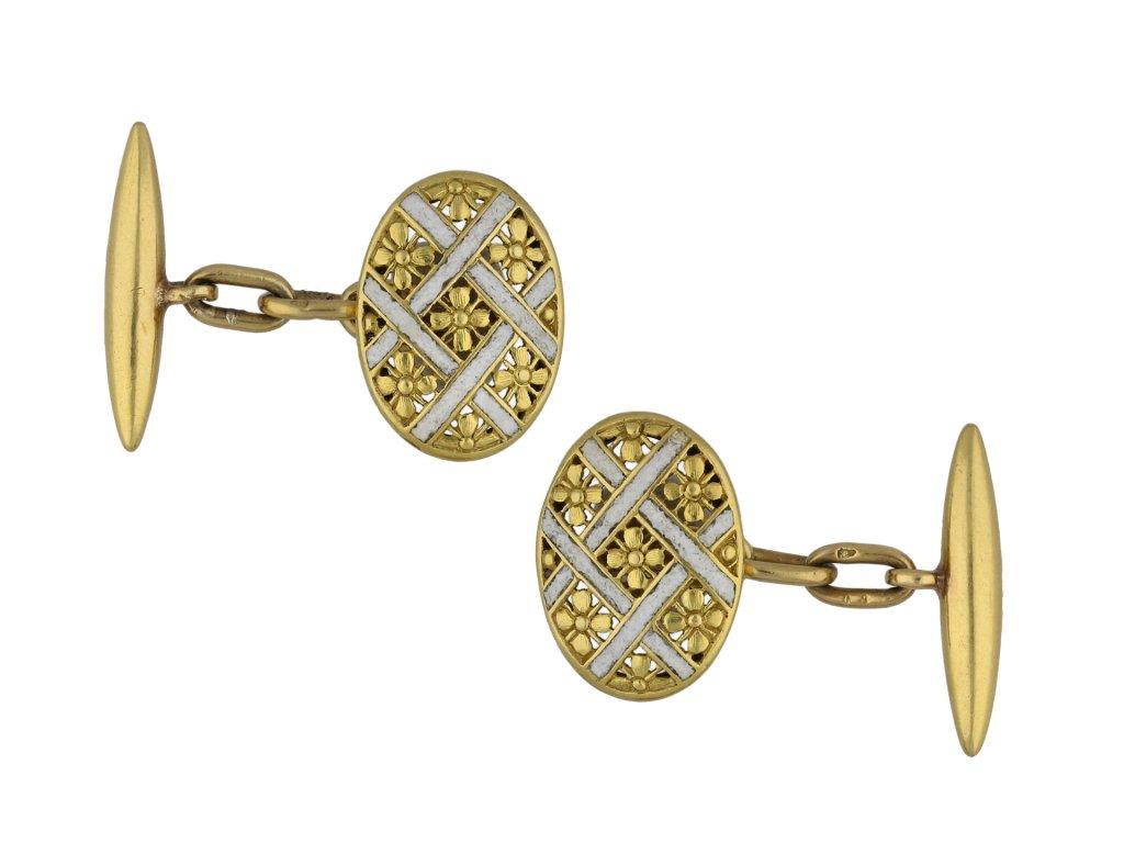 Antique enamel and gold cufflinks berganza hatton garden