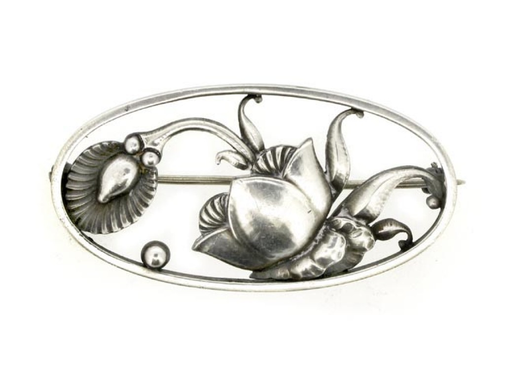 front view Georg Jensen sterling silver brooch
