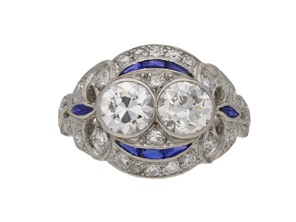 Two stone diamond sapphire cluster ring berganza hatton garden