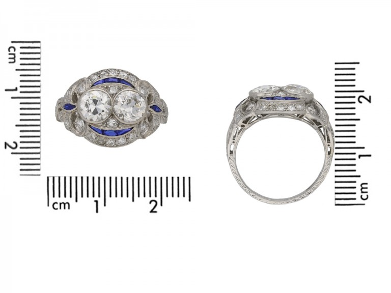 Two stone diamond sapphire cluster ring berganza hatton garden