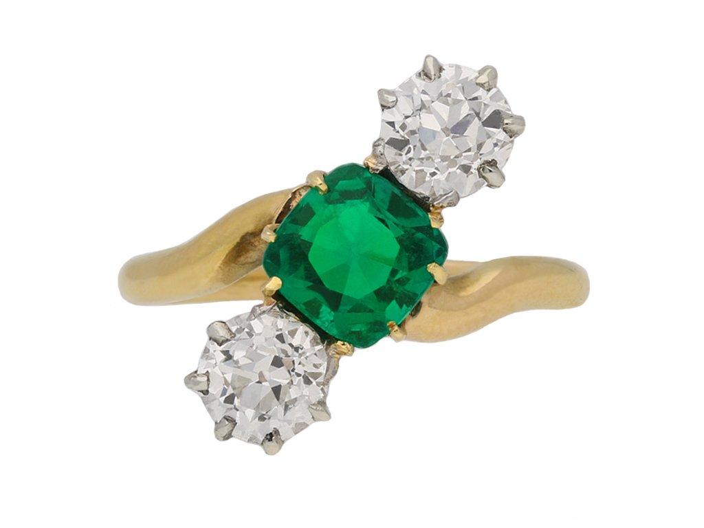 antique emerald diamond crossover ring hatton garden berganza