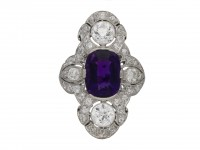 Dreicer antique amethyst diamond ring berganza hatton garden
