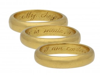 Gold posy ring, 'My choyes is made berganza hatton garden
