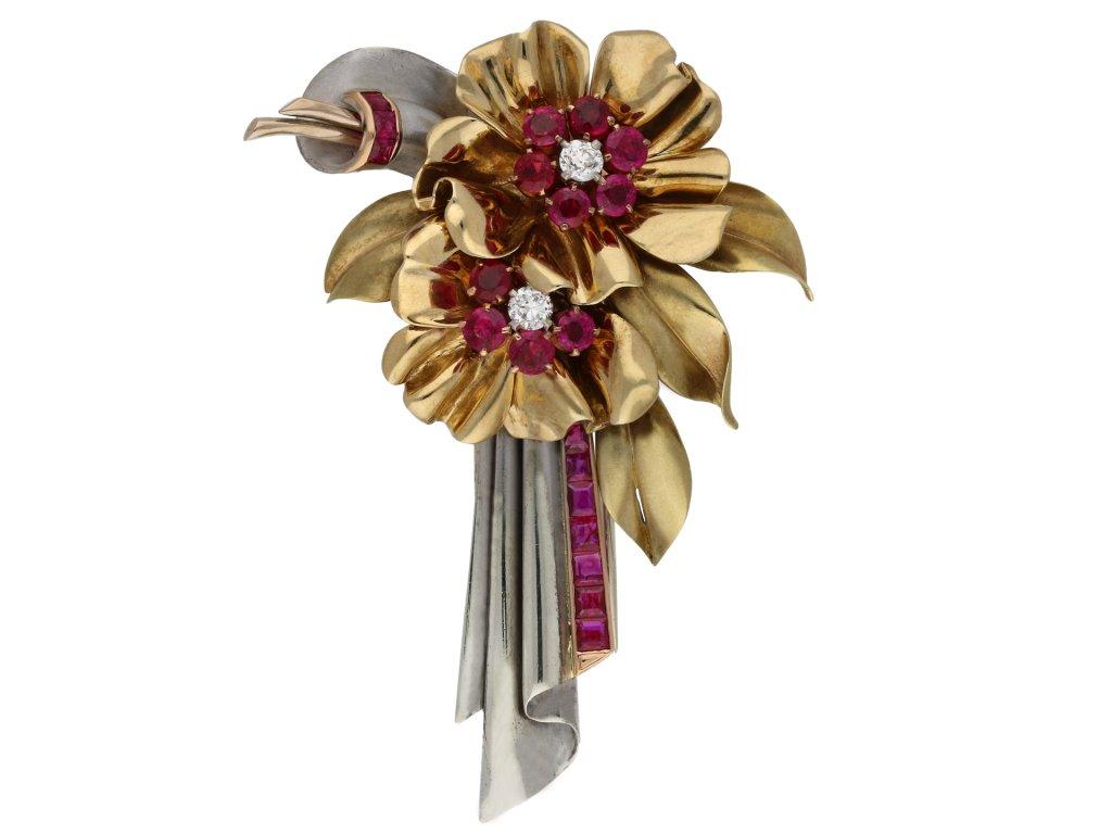 Ruby and diamond clip brooch berganza hatton garden