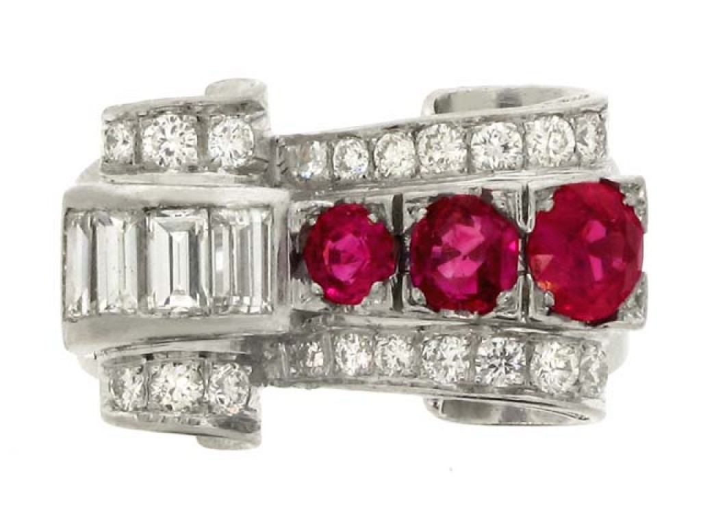 front view Ruby and diamond cocktail ring, circa 1950.