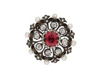 tourmaline, diamond pearl pendant/brooch berganza hatton garden