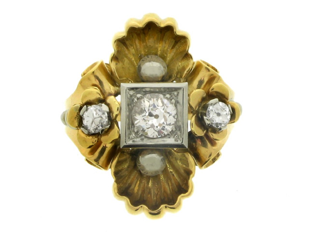 front view Diamond set dress ring, circa 1940.