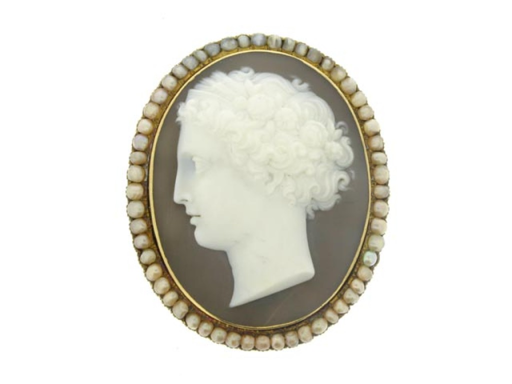 front view Antique cameo and pearl pendant/brooch, circa 1870.