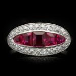 Burmese ruby and diamond saddle ring, French, circa 1920.