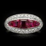 Burmese ruby and diamond saddle ring, French, circa 1920.
