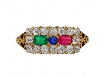 Antique ruby emerald sapphire diamond ring berganza hatton garden