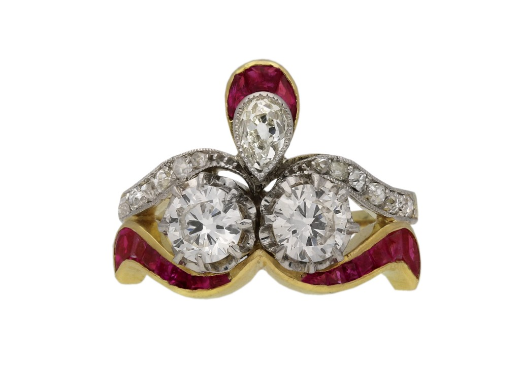 Edwardian diamond ruby ring cluster ring berganza hatton garden