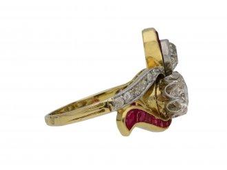 Edwardian diamond ruby ring cluster ring berganza hatton garden