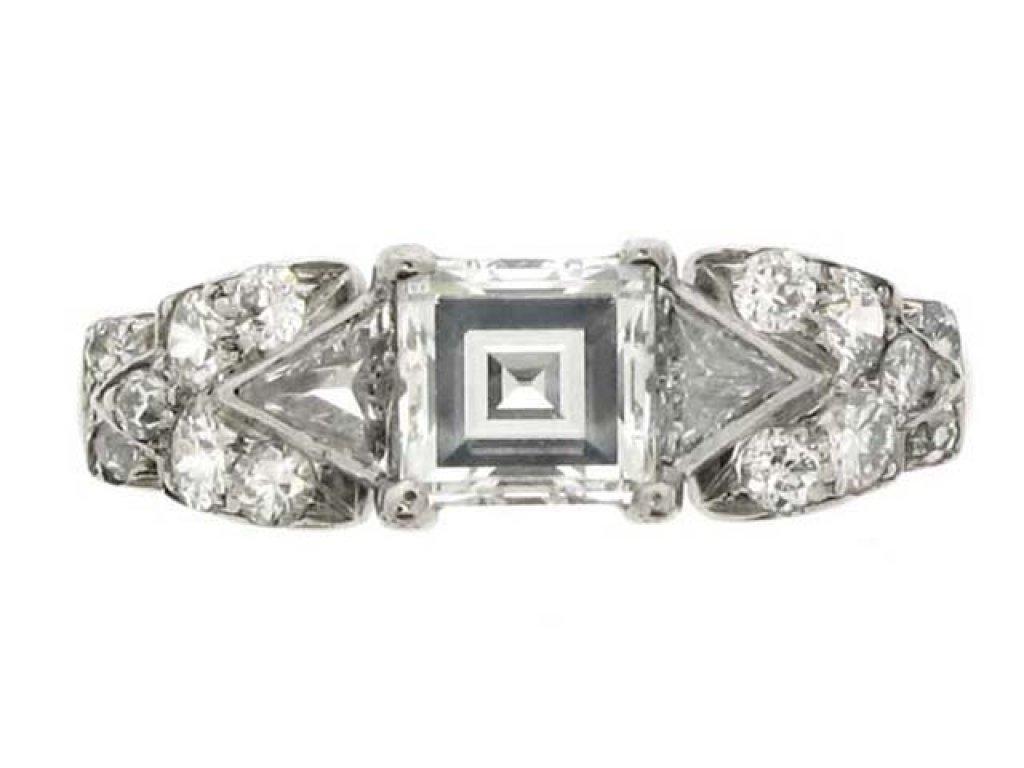 front view antique diamond ornate ring berganza hatton garden