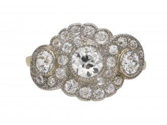 Edwardian diamond triple cluster ring berganza hatton garden
