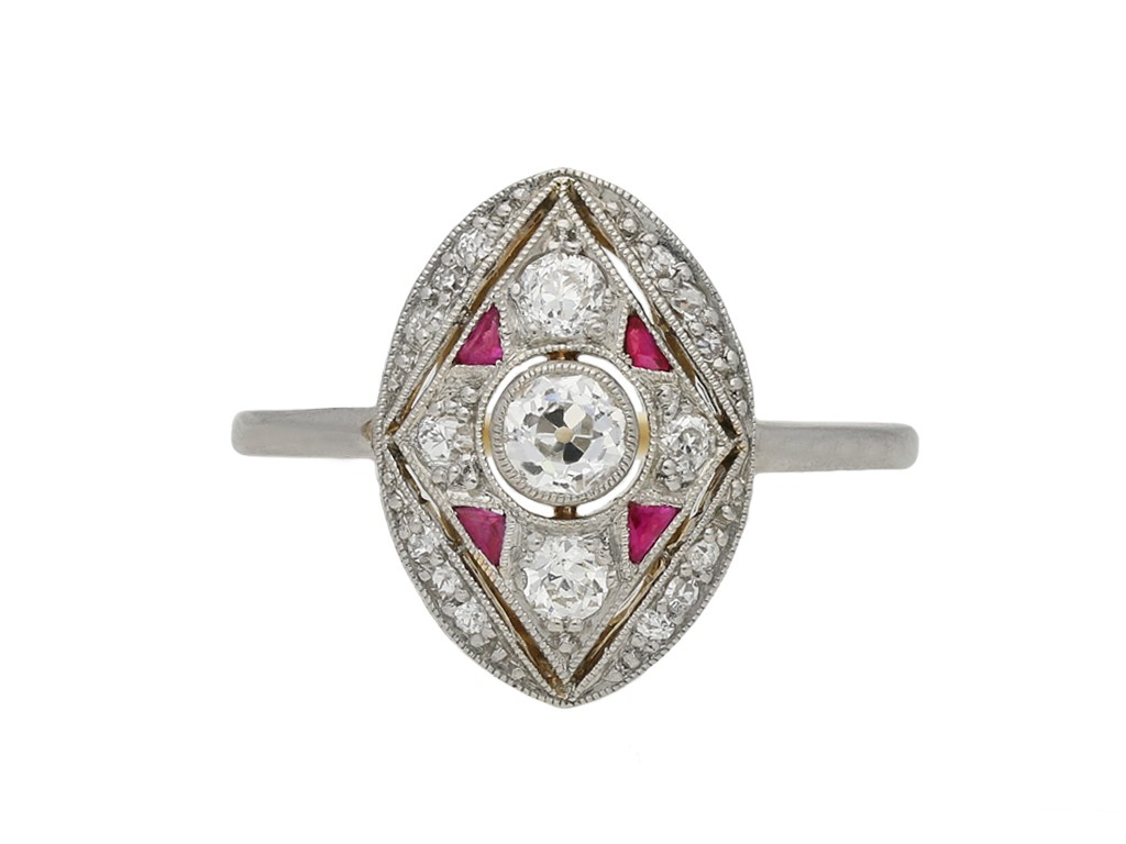 Antique diamond and calibré cut ruby ring berganza hatton garden
