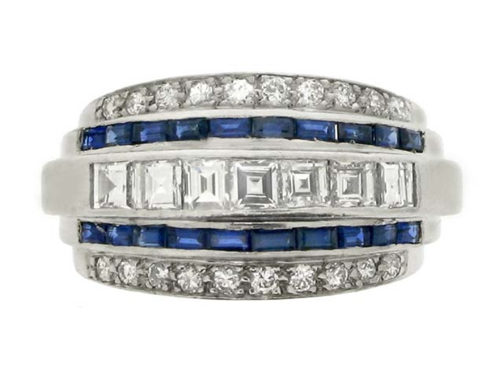 front view Oscar Heyman Brothers five row sapphire and diamond ring, American, circa 1935.