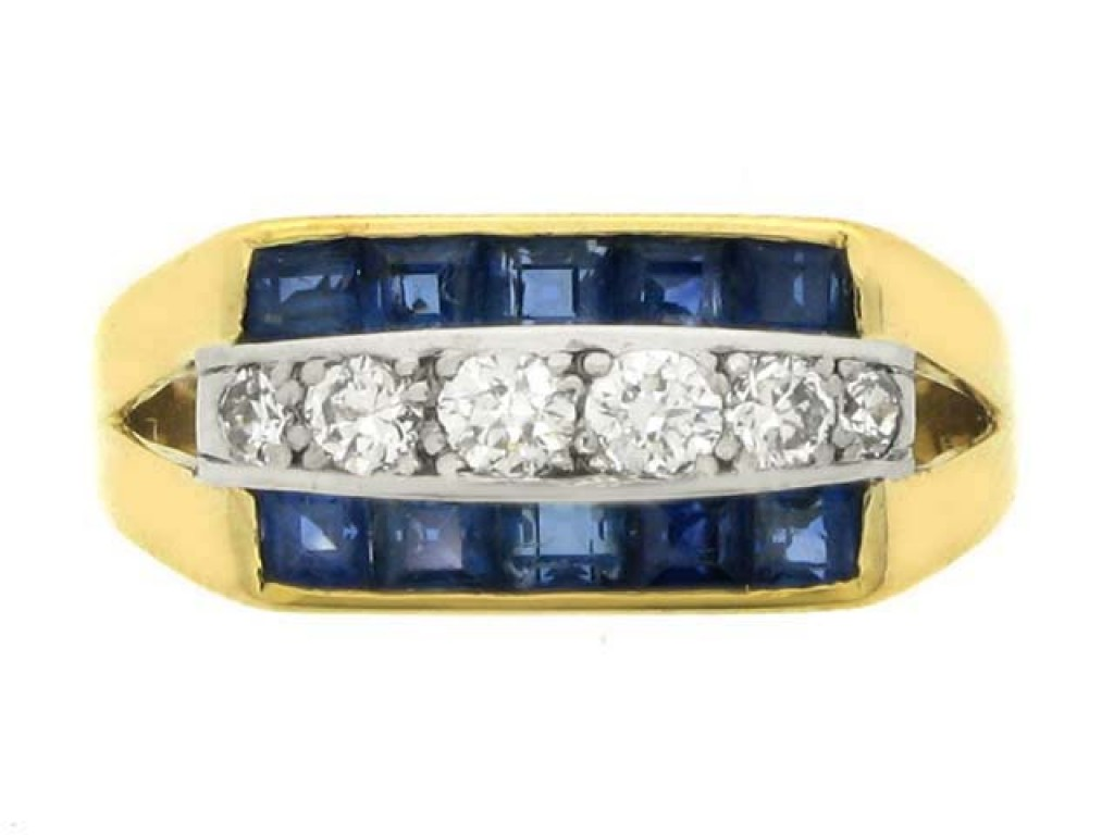 front veiw Tiffany & Co. sapphire and diamond ring, American, circa 1940.