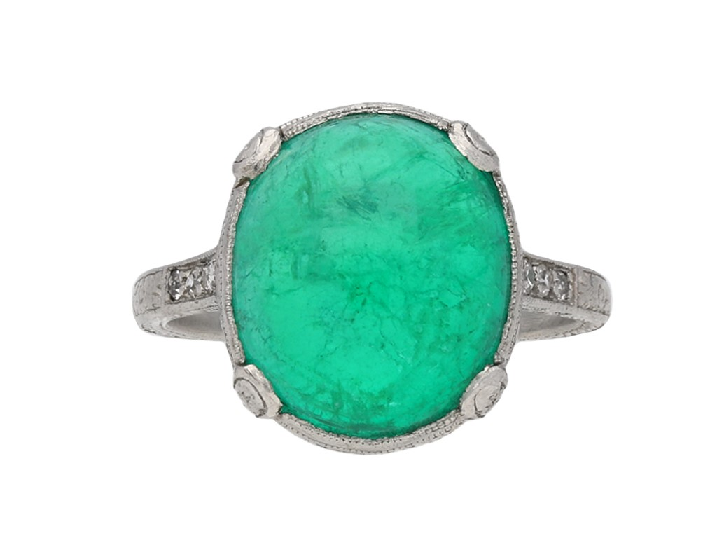 Colombian emerald cabochon diamond ring berganza hatton garden