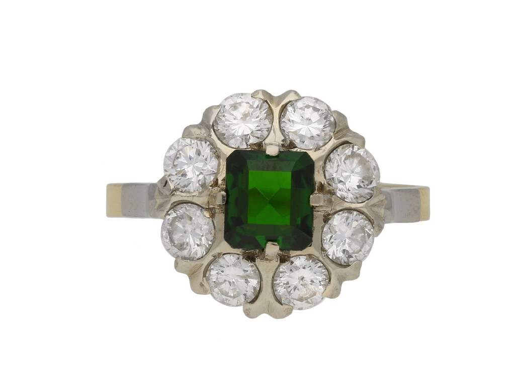 Green tourmaline diamond cluster ring berganza hatton garden