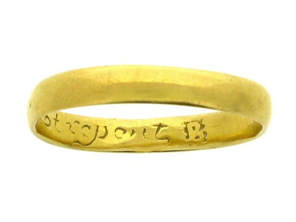 Gold posy ring, 'Hearts content cannot repent', 17th century.