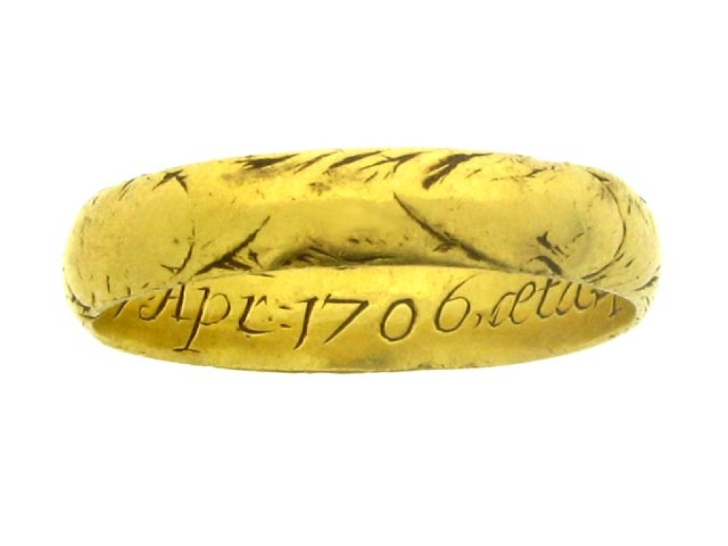 Gold and enamel mourning ring, circa 1706.