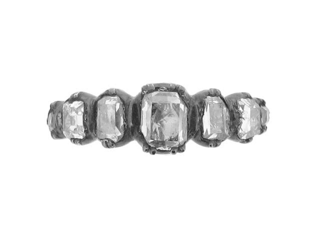 front view Georgian seven stone diamond ring, circa 1770.