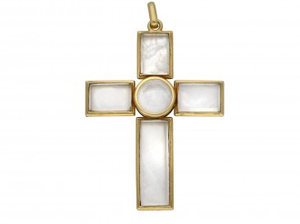 Rock crystal and gold cross berganza hatton garden
