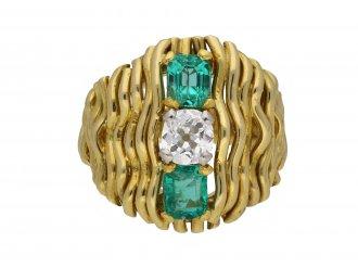 Vintage emerald and diamond dress ring berganza hatton garden